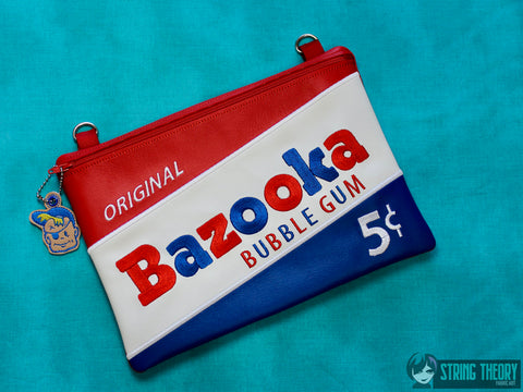 Bazooka Joe Zip Bag Fully Lined 7x11 with dangle ITH MACHINE EMBROIDERY DESIGN