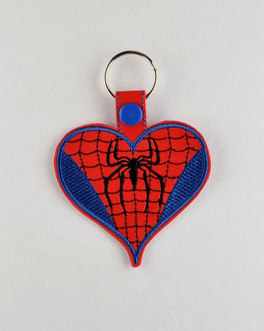 Spider Guy heart snap tab key fob ITH machine embroidery design 4x4