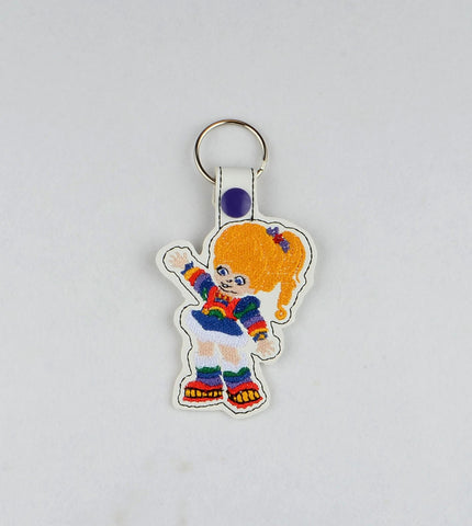 80S Color Girl fob snap tab key fob ITH 4x4 machine embroidery design