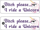 B*tch please ... I ride a unicorn traditional style book mark 2ITH 5x7 machine embroidery design