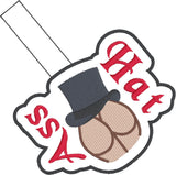 Asshat snap tab key fob ITH 4x4 machine embroidery design
