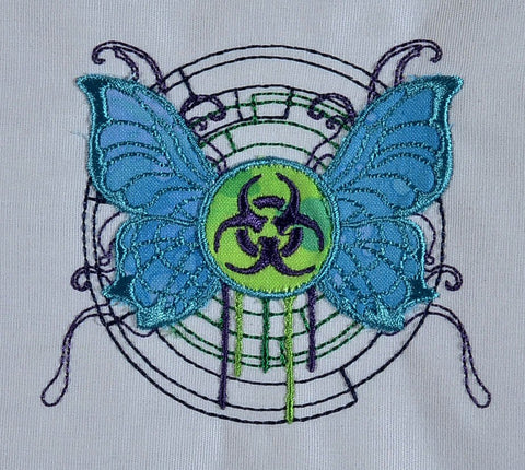 Gothic Toxic Butterfly applique Machine Embroidery Design 4x4