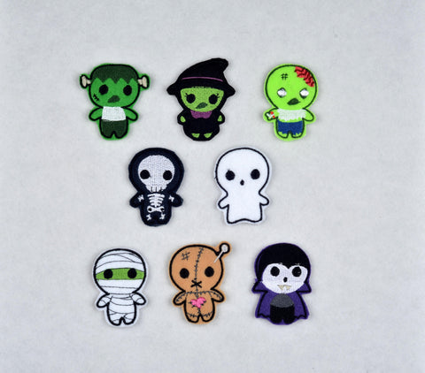 Cute Halloween Monsters toppers Set of 8, 3ITH machine embroidery design 4x4