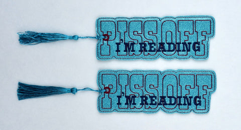 Piss off I'm reading traditional book mark 2ITH 5x7 machine embroidery design