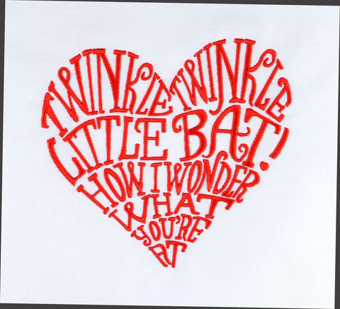 Alice in Wonderland Little bat heart 5x7 machine embroidery design