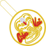Cobra Kai snap tab key fob ITH 4x4 machine embroidery design