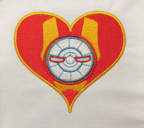 Metal Dude Hero heart machine embroidery design 4x4 and 2.5x2.5