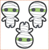 Cute Mummy topper 3 ITH machine embroidery design 4x4