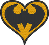 Bat Guy heart machine embroidery design 4x4 and 2.5x2.5