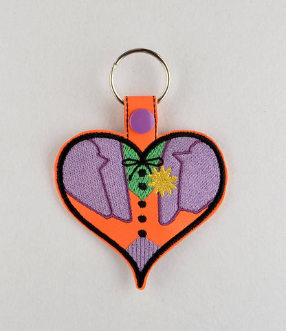 Boy Jester Villain heart snap tab key fob ITH machine embroidery design 4x4