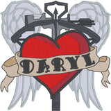 Daryl Old School Tattoo with wings and crossbow Machine Embroidery Design 4x4