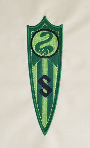 Spell Academy Serpent Coat of Arms  pennant banner appliqué  5x7 machine embroidery design