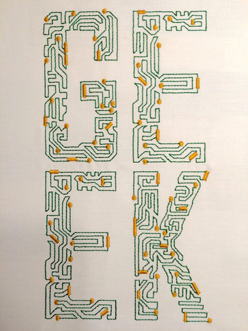 Computer Geek Circuit Board machine embroidery design 6x10