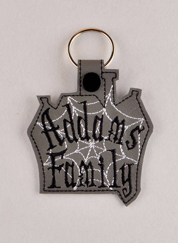 Addams Family ITH snap tab key fob 4x4 machine embroidery design