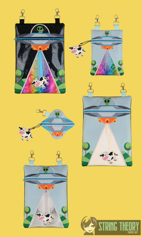 UFO ABDUCTION ZIP BAG SET 5 sizes  w/ DANGLES ITH MACHINE EMBROIDERY DESIGN