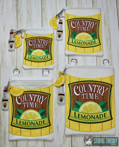 Lemonade Zip Bag Fully Lined SET 4 sizes with 2 dangles ITH MACHINE EMBROIDERY DESIGN