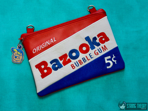 Bazooka Joe Zip Bag Fully Lined 8x12 with dangle ITH MACHINE EMBROIDERY DESIGN