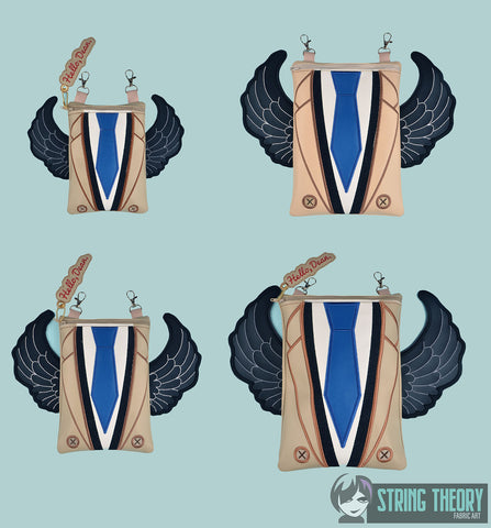 Supernatural Castiel Zip Bag SET with detachable wings ITH machine embroidery design