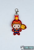 Chibi LT Wonder Hero snap tab key fob ITH 4x4 machine embroidery design