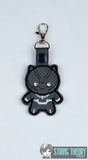 Chibi Panther snap tab key fob ITH 4x4 machine embroidery design