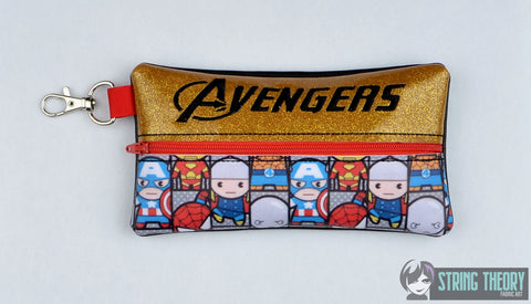 Avengers pencil zip bag ITH 5x7 machine embroidery design