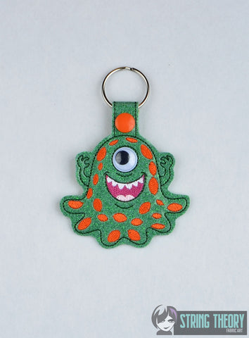 Googly eye Monster 3 snap tab key fob ITH machine embroidery design