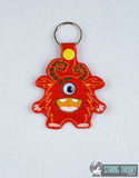 Googly Eye Monster 6 snap tab key fob ITH 4x4 machine embroidery design