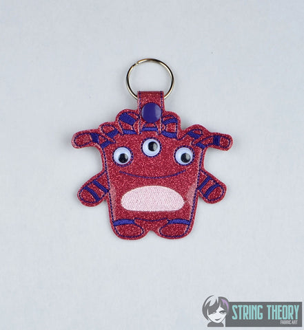 Googly Eye Monster 5 snap tab key fob ITH 4x4 machine embroidery design