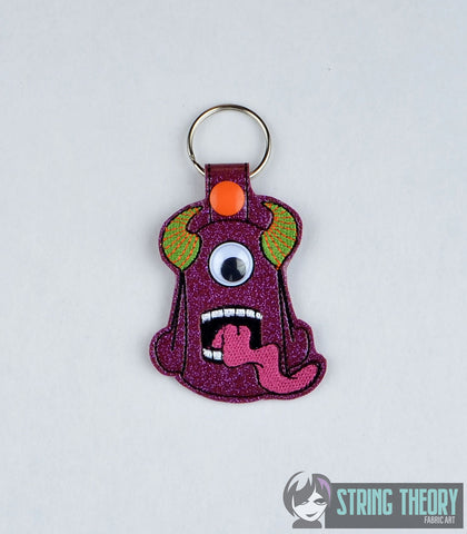 Googly Eye Monster 1 snap tab key fob ITH 4x4 machine embroidery design