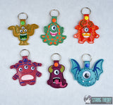 Googly eye monster SET 6 snap tab key fob ITH 4x4 machine embroidery designs