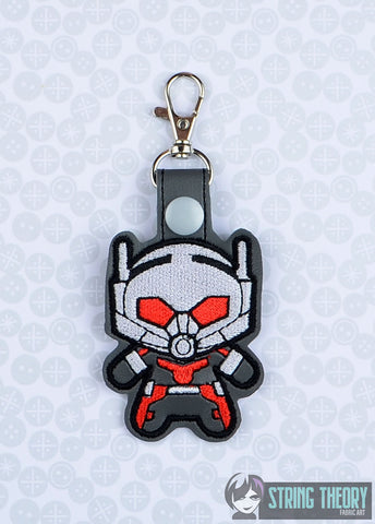 Chibi Ant Man snap tab key fob ITH 4x4 machine embroidery design
