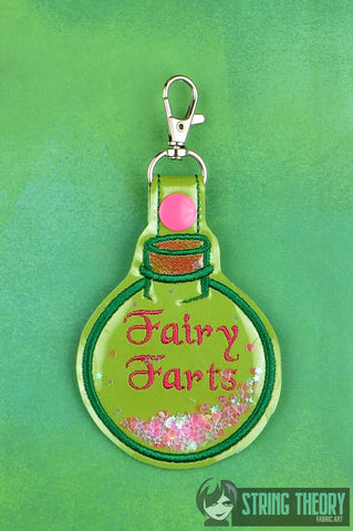 Fairy Farts glitter trapped snap tab key fob ITH 4x4 machine embroidery design