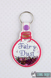 Fairy Dust glitter trapped snap tab key fob ITH 4x4 machine embroidery design
