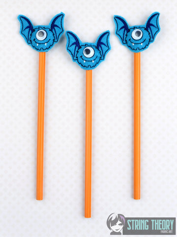 Googly eye monster 4 3ITH pencil topper 4x4 machine embroidery design
