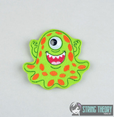 Googly Eye Monster 3 finger puppet ITH 4x4 machine embroidery design