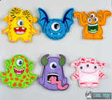 Googly Eye Monster finger puppet SET 6 DESIGNS ITH 4x4 machine embroidery design