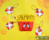 Happy Fry Guy snack change zipper bag WITH dangle 4x4 ITH machine embroidery design