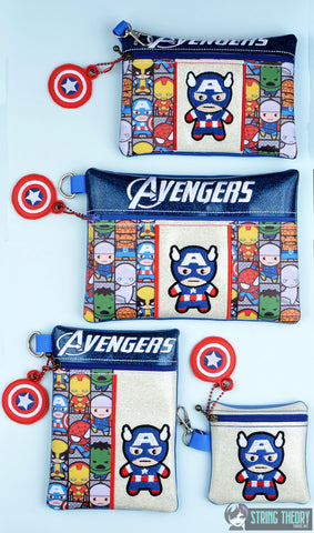 Tiny Heroes Captain America zip bag 4 sizes SET with DANGLE ITH machine embroidery designs