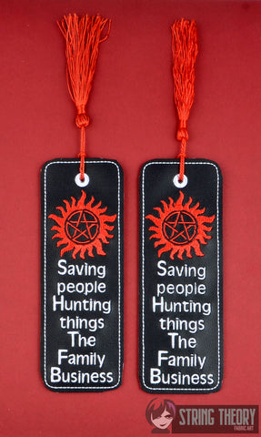 Saving people hunting things the family business 2ITH traditional style book mark 5x7 machine embroidery design
