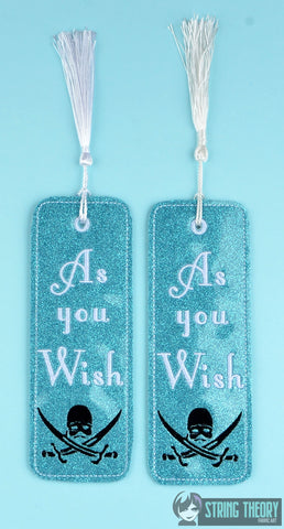As you wish traditional book mark 2ITH 5x7 machine embroidery design