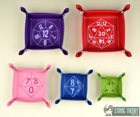 RPG portable dice tray FIVE sizes ITH machine embroidery design