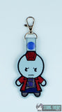 Chibi Blue Space Pirate snap tab key fob ITH 4x4 machine embroidery design