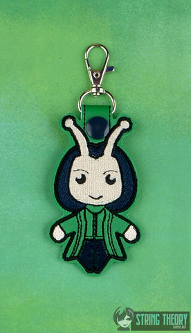 Chibi Insect Alien Hero snap tab key fob ITH 4x4 machine embroidery design