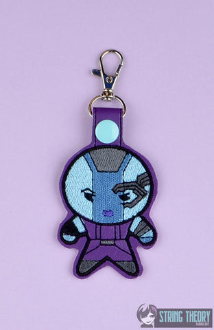 Chibi Blue Space Hero snap tab key fob ITH 4x4 machine embroidery design