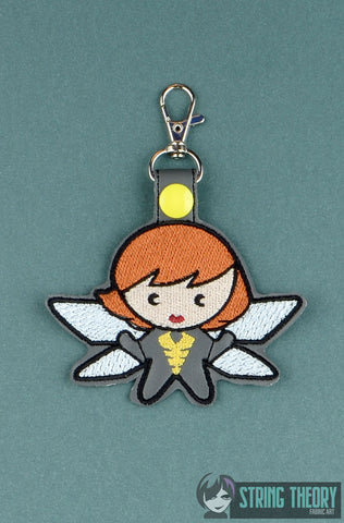 Chibi Stinger Girl Hero snap tab key fob ITH 4x4 machine embroidery design