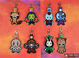 Chibi Hero Team snap tab key fob SET 4x4 ITH machine embroidery designs