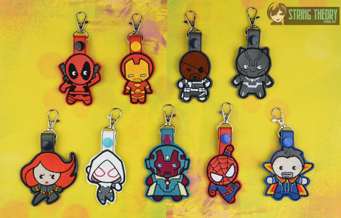Chibi Team Metal Dude Hero snap tab key fob SET ITH 4x4 machine embroidery designs