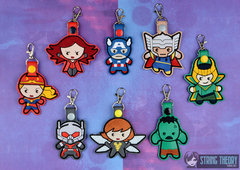 Chibi Team Captain America snap tab key fob SET ITH 4x4 machine embroidery designs