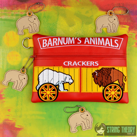 Animal cracker zip bag with elephant dangle 6x10 ITH machine embroidery design