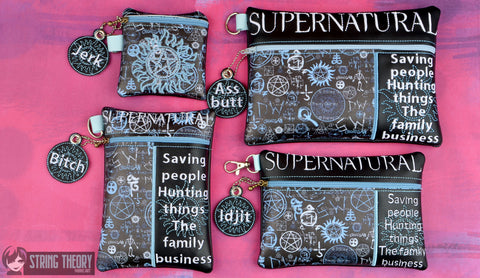 Supernatural The Family Business zip bag set FOUR SIZES ITH machine embroidery design